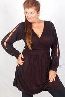 Zd716 Black Blouse Top Dress Mini Wrap Cross Over Jersey 2x 3x 4x Plus Size