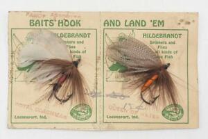 Vintage-Hildebrandt-Handmade-Baits-Flies-Fly-Pair-Fishing-On-Card