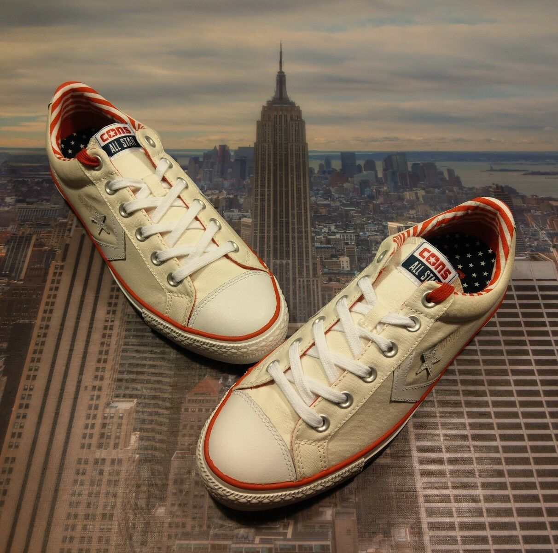 Converse Star Player Skate Stripes Buey bajo Stars & Stripes Skate Blanco para Hombre c Nuevo 402788