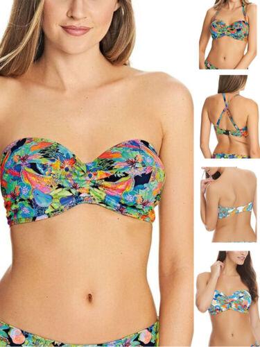 Freya Island Girl Twist Strapless Bandeau Bikini Top 2982 Black Multi /& Tropical