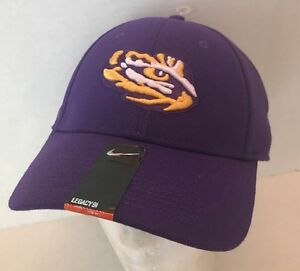 the best attitude 7d22c 5f1fa Image is loading NWT-NIKE-Swoosh-NCAA-LSU-Tigers-Flex-Cap-