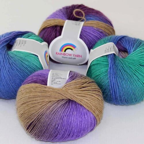 Venta Hazlo tú mismo 4 ballsx 50g Suave Lana de Cachemira Colorido Arcoiris Chal Hand Knit hilo 05