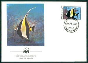 Appris Maldives Bijoux-fdc 1986 Wwf Faune Poissons Fish Support Poisson El98-afficher Le Titre D'origine