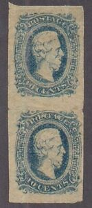 Confederate States of America #11 Mint vert pair showing CHILLED PLATE sm flts