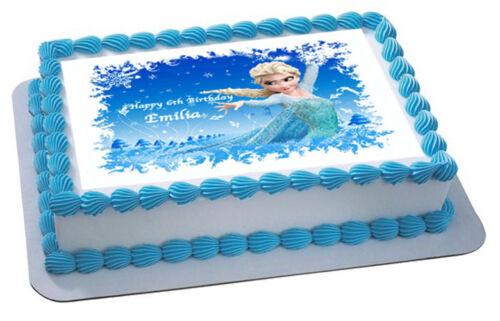 FROZEN DISNEY ELSA PRINCESS CAKE TOPPER PARTY PERSONALISED  WAFER PAPER