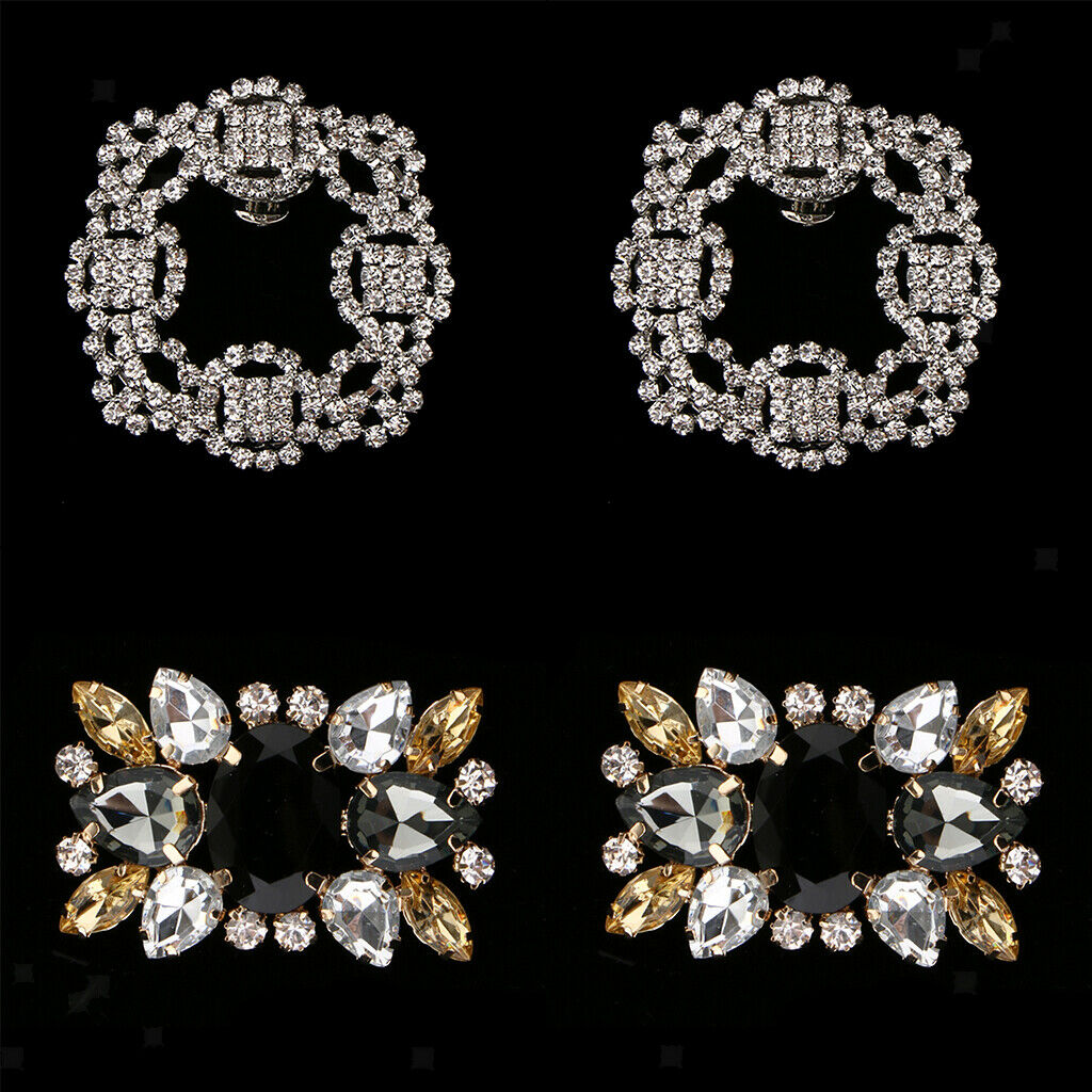 4 Pieces Shiny Rhinestone Crystal Wedding Diamante Crystal Sparkle Shoe Clips