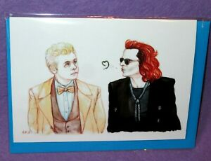 GOOD-OMENS-GREETING-BIRTHDAY-CARD-Crowley-amp-Aziraphale-Artist-Blackkingsdream