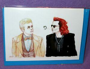GOOD OMENS GREETING BIRTHDAY CARD Crowley & Aziraphale Artist Blackkingsdream