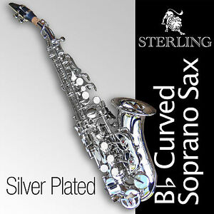 Details about SILVER-Plated Curved SOPRANO SAX • Bb Saxophone • Brand New •  High Quality Sax •