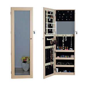 Details About Wall Door Mount Full Length Mirror Jewelry Armoire Cabinet Closet With Lock Oak