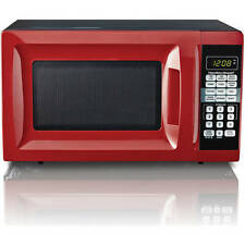 Hamilton Beach 0.7 cu ft Microwave Oven Red Countertop Kitchen Digital 700 Watts