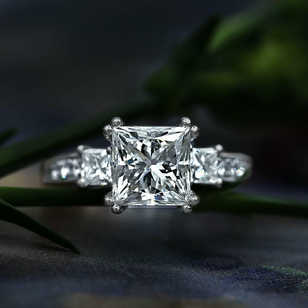 Solid 14k White gold 3.70ct Princess & Round Three Stone Vintage Engagement Ring