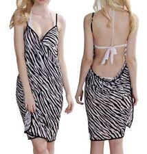 Zebra Schwarz Weiss Damen Strandkleid Muster Sarong Pareo Wickelrock Bademode Mi
