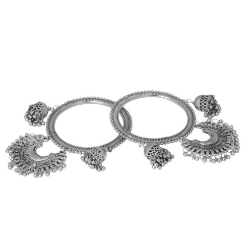 Jwellmart Indian Bollywood Oxidized Silver Ghungroo Metal Bangles Set for Women