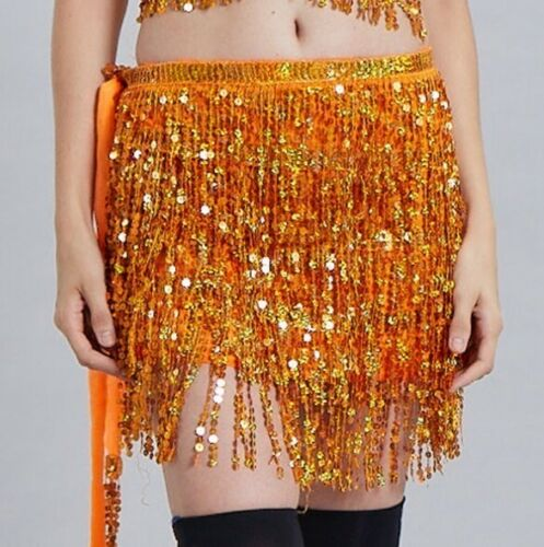 Belly Dancer Sequin Bra Top Fringe Hip Scarf Skirt Halloween Festival Costumes