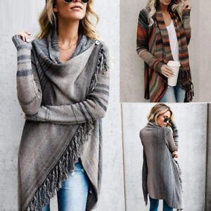 Womens-Irregular-Tassel-Knitted-Cardigan-Sweater-Poncho-Shawl-Coat-Jacket-Tops