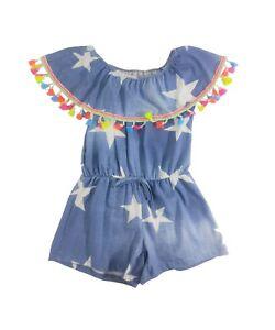 a6fb4de79a2a Girl s Denim Look Frill Playsuit Jumpsuit Tassel Sundress Bardot Age ...