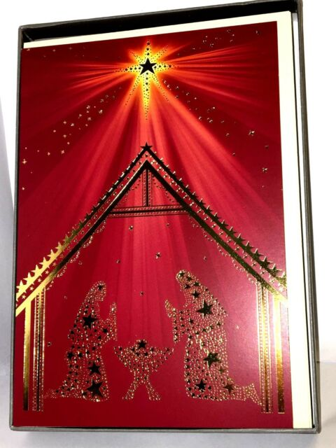 hallmark boxed set 16 christmas cards religious star of bethlehem nativity foil - Christmas Cards Religious