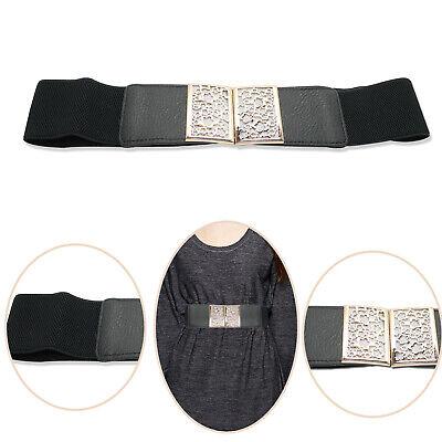 50 mm Femmes Noir Taille Élastique Ceinture Boucle Mode Vêtements Robe