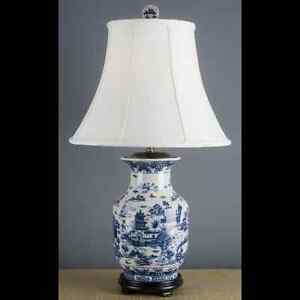 Image Is Loading Reproduction Chinese Oriental Blue Willow Porcelain Lamp 31