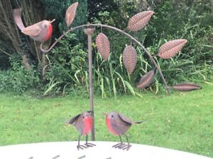 Image Is Loading SET OF 3 ROBIN GARDEN ORNAMENTS Robin Balance