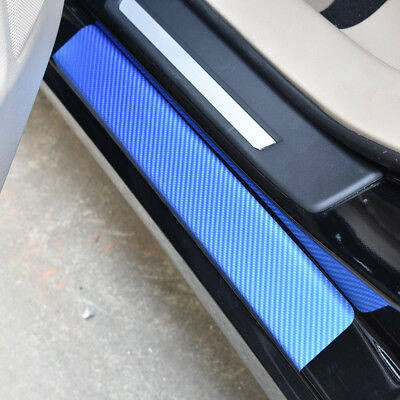For MX-5 Carbon Fiber Car Door Sill Scuff Guard Anti Scratch Panel Step Protector Stickers For MX-5,Blue