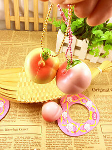 4CM Mini Squishy Cute 2017 Peach Super Slow Rising Scent Fun Toy with Ballchain