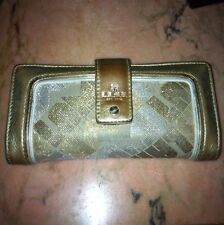 Lamb Distressed Gold Leather & Signature Fabric Wallet By Gwen Stefani ~ RARE