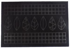 SCULPTURED LEAVES BLACK FELT EFFECT ANTI SLIP RECYCLED RUBBER DOORMAT 40X60CM