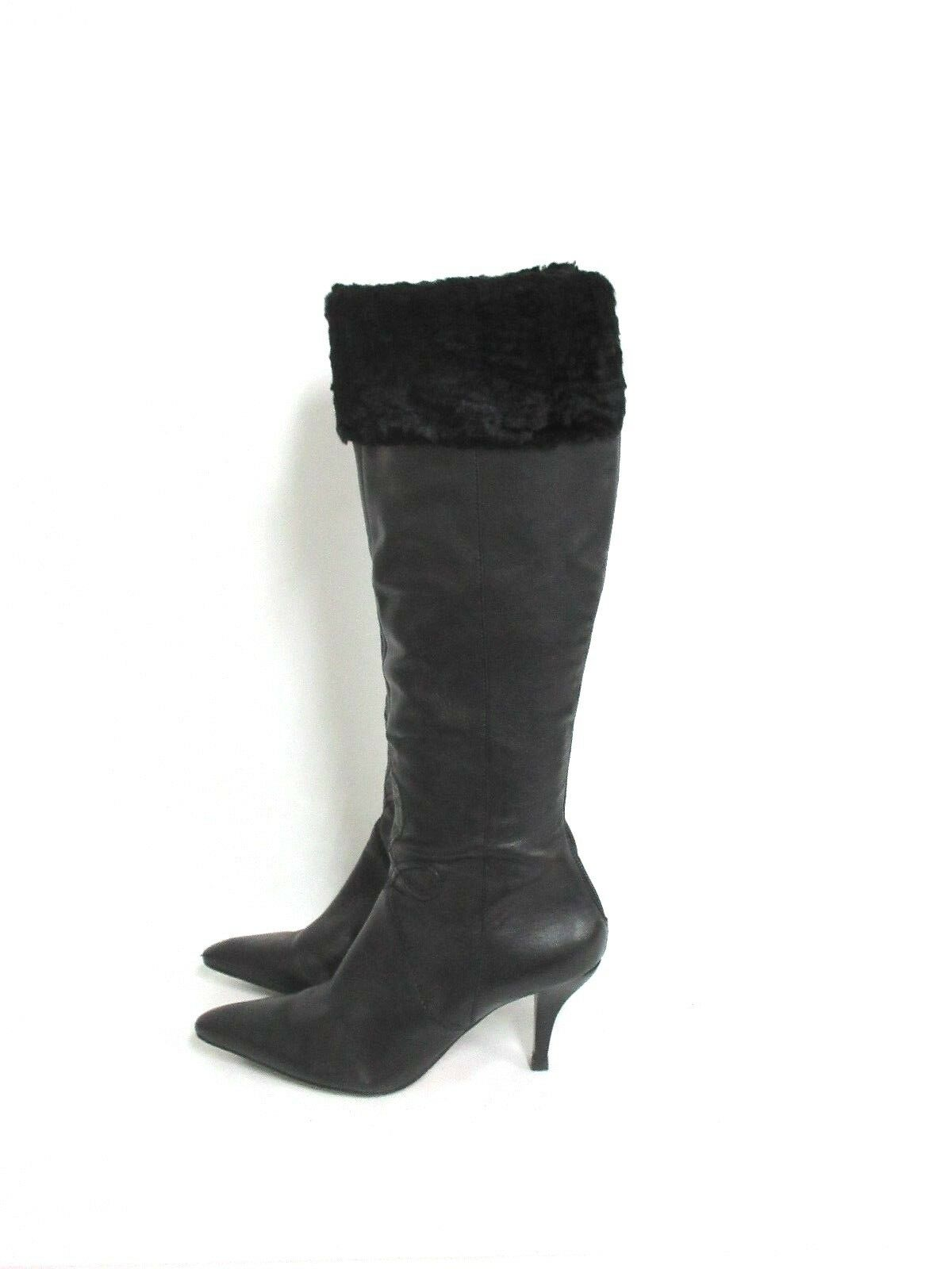 Arturo Chiang Women's Limonta High Shaft Boot with Fur Cuff Black Size: 6.5M