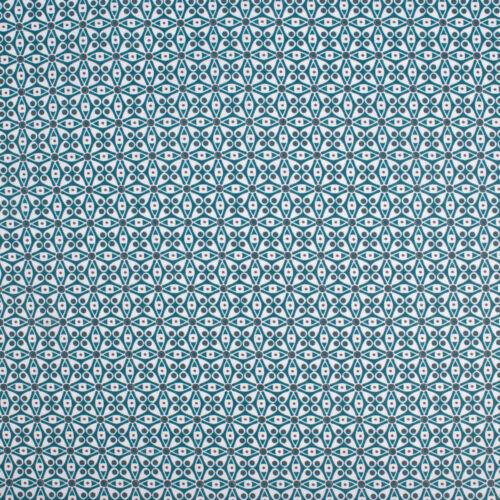 Tischdeckenstoff beschichtete Baumwolle Blumen türkis grau weiß 1,55m Breite