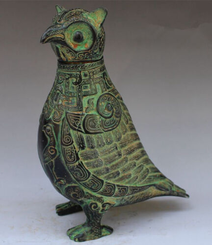 China Collectible Decorated Old Handwork Bronze Carved Owl statue