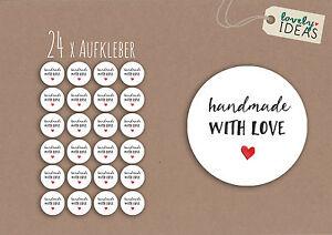 24-x-Geschenkaufkleber-034-Handmade-with-Love-034-40mm-weiss-Etiketten-Aufkleber