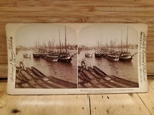 Antique-Stereoscope-Stereo-Photo-Cards-1899-The-Pasig-River-Wall-of-old-manila
