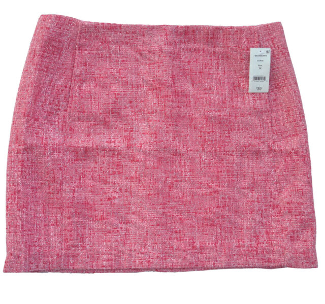 Women/'s Joe Fresh for JCPenny Tweed Skirt 8 Coral