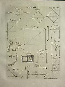 1797 GEORGIAN PRINT ~ MECHANICS ~ VARIOUS DIAGRAMS
