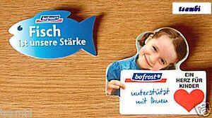 2-bofrost-Anstecknadeln-034-Ein-Herz-fuer-Kinder-034-und-034-Fisch-ist-unsere-Staerke-034