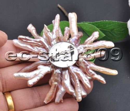 D0208 Handmade 80mm Chicken-Toe FW PEARL Chrysanthemum Brooch