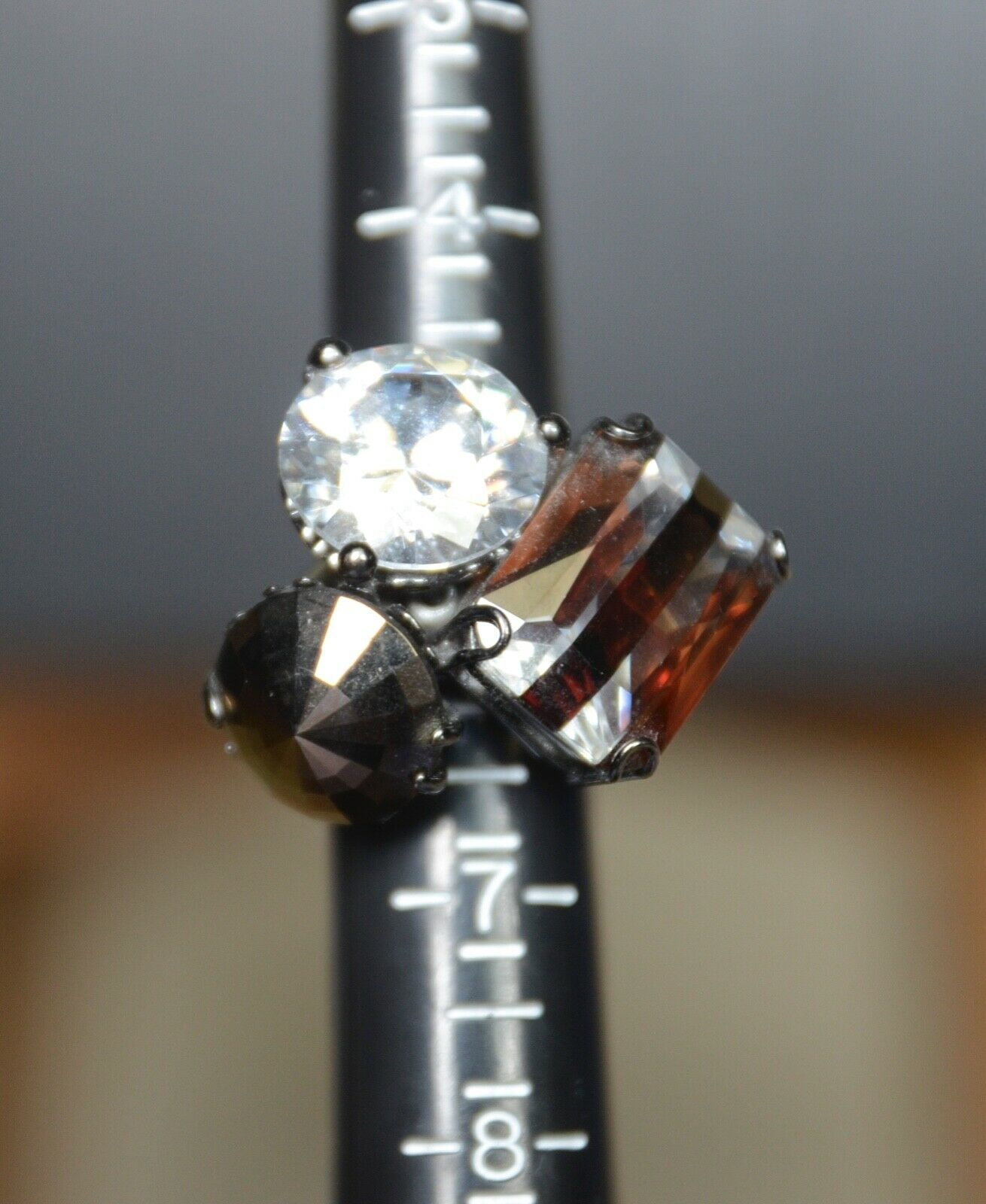 Henri Bendel Triple Gem Fashion Ring - Size  6