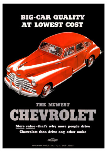 CHEVROLET AUTOMOBILES 40's RETRO A3 POSTER PRINT FROM ADVERT 1947