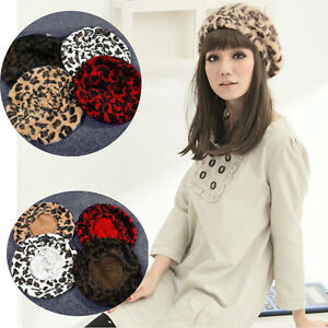 cf78c50dd3ff1 Women French Style Leopard Print Wool Soft Winter Warm Beret Beanie ...