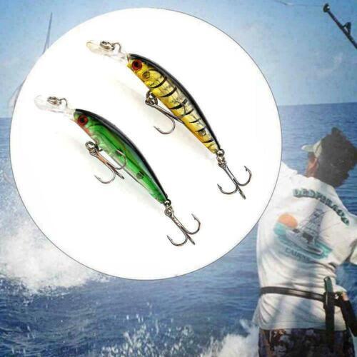 Lot 4pcs Plastic Minnow Fishing Lures Sinking Rattles 7cm 4g Access baits N K6P8