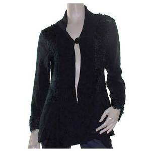 Cardigan-Size-14-SUN-ROSE-Black-Drape-Knit-Tunic-Panelled-Cardi
