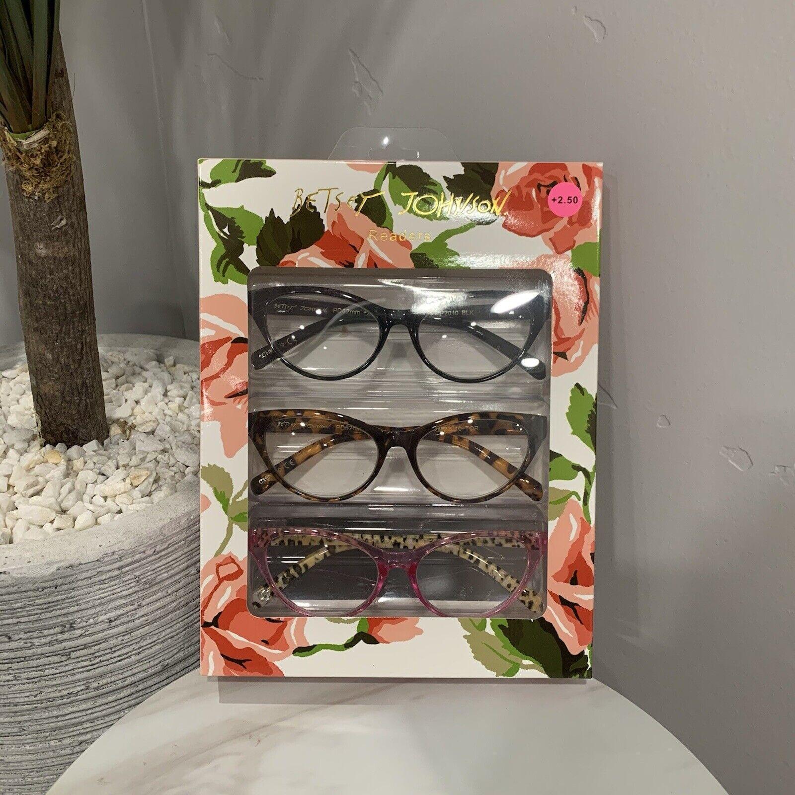NWT Betsey Johnson Cat Eye Leopard Reading glasses readers +2.50