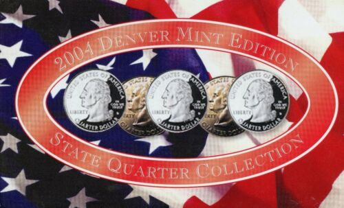"""A COMPLETE Denver Set 2004 D Five Coin /""""BU/"""" State Quarter Set with Box and COA"""