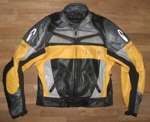 RICHA-Herren-Kombi-Motorrad-Lederjacke-Jacke-in-schwarz-gelb-ca-Gr-48-50