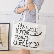 Cartoon Womens Shoulder Bag Cat Printed Zipper Shopping Beach Handbag Tote White