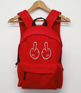 c67cceff5b4 MICKEY MIDDLE FINGER BACKPACK SCHOOL MOUSE BOOK BOY GIRL BAG COLLEGE ...