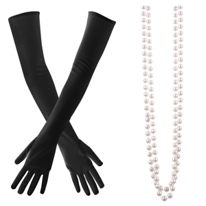 1930 Gants Charleston 1920 Détails Femme Gatsby De Noir Long Collier Sur Perles Années Et nvN0mw8