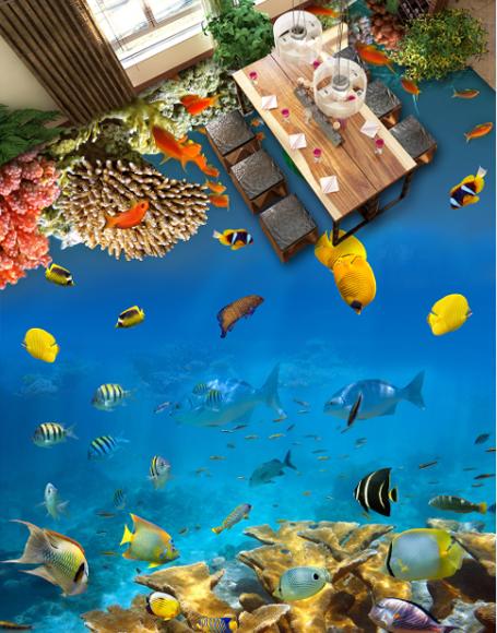 3D Cute Coral Fishs 6 Floor WallPaper Murals Wall Print 5D AJ WALLPAPER UK Lemon